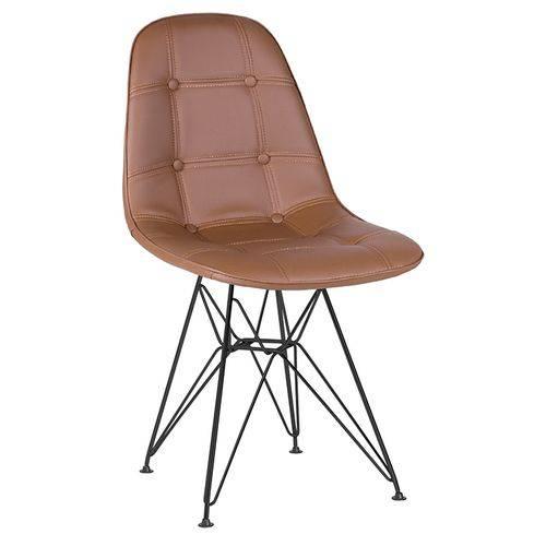 Cadeira Estofada Botonê - Marrom - Metal Preto