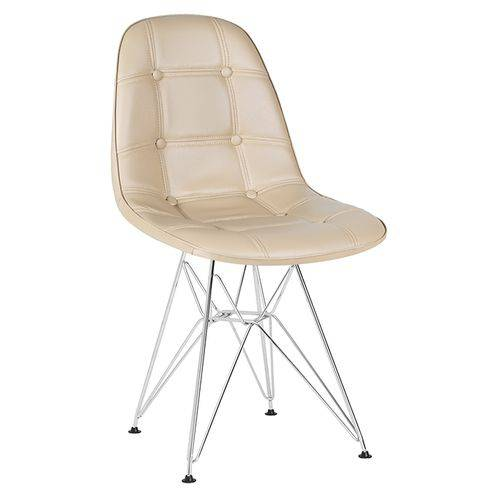 Cadeira Estofada Botonê - Nude - Metal Cromado