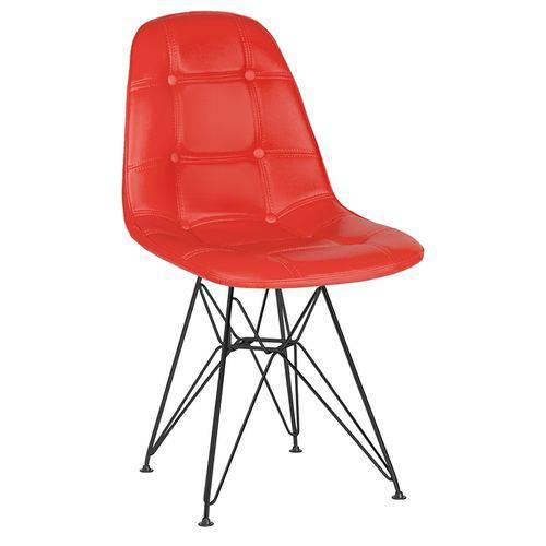 Cadeira Estofada Botonê - Vermelho - Metal Preto