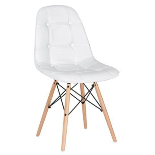 Cadeira Estofada Eames Botonê - Eiffel - Branco - Madeira Clara