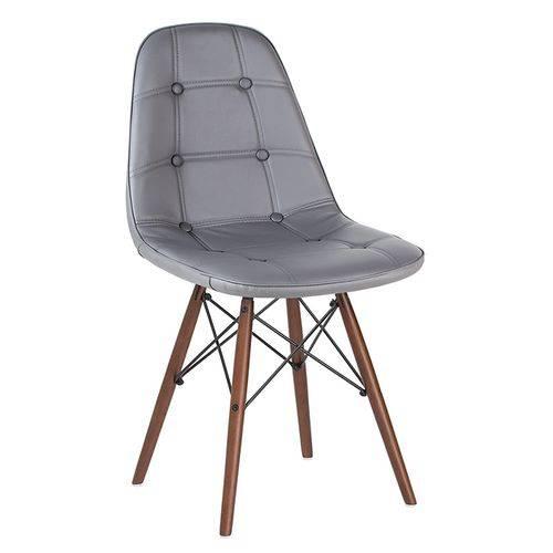 Cadeira Estofada Eames Botonê - Eiffel - Cinza Escuro - Madeira Escura