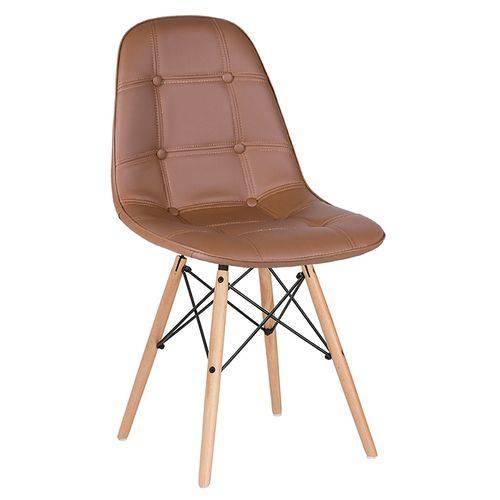 Cadeira Estofada Eames Botonê - Eiffel - Marrom - Madeira Clara