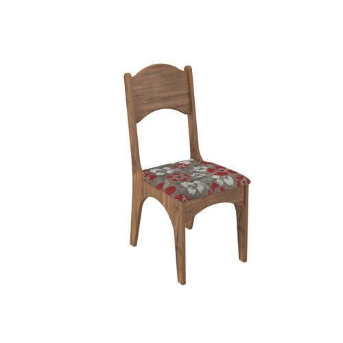 Cadeira Estofada - Nobre/floral Vermelho Ca18/2 N7 - Dalla Costa