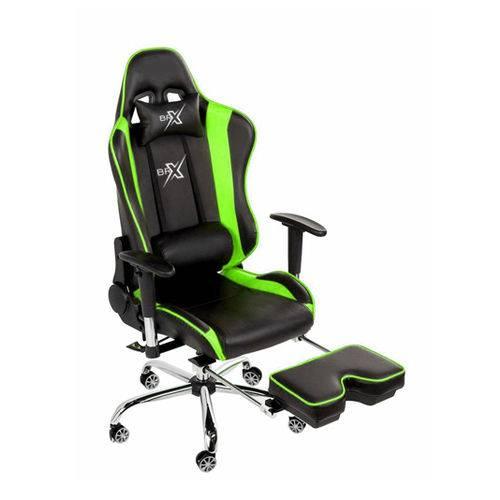 Cadeira Gamer Brx Braços 4d com Descanso de Pés Verde