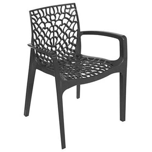 Cadeira Gruvyer com Braços em Polipropileno Preto