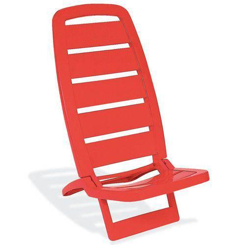 Cadeira Guarujá de Praia Vermelha Basic - Tramontina