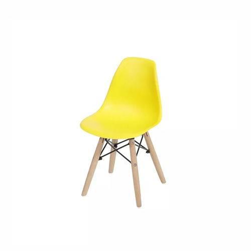Cadeira Infantil Dkr Amarela Pé de Madeira