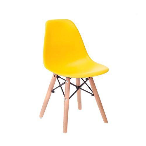 Cadeira Infantil Eames Junior - Amarelo com Base de Madeira Natural