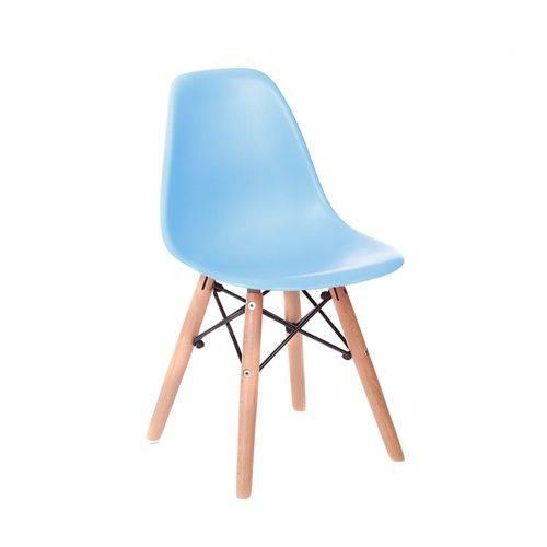 Cadeira Infantil Eames Junior - Azul com Base de Madeira Natural