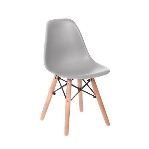 Cadeira Infantil Eames Junior - Cinza com Base de Madeira Natural