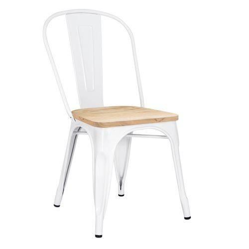Cadeira Iron Tolix com Assento Madeira Clara - Branco