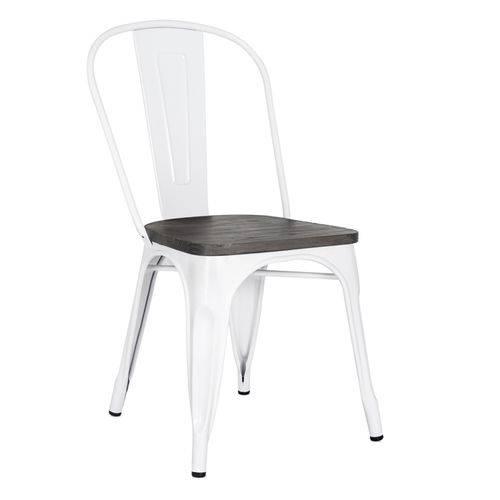 Cadeira Iron Tolix com Assento Madeira Escura - Branco