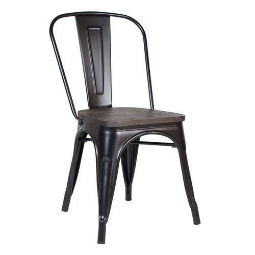 Cadeira Iron Tolix com Assento Madeira Escura - Preto