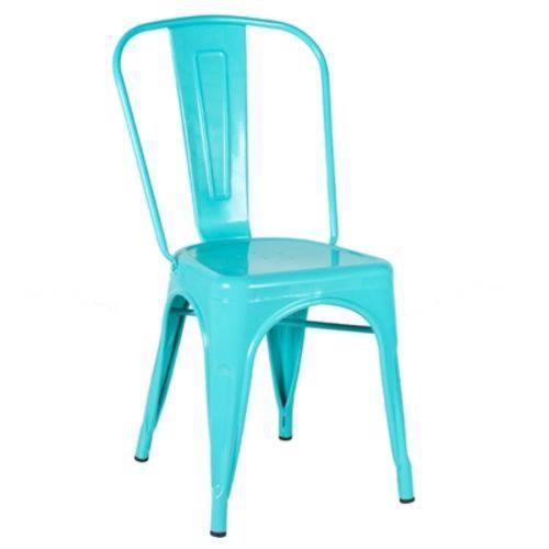 Cadeira Iron Tolix - Industrial - Aço - Vintage - Azul Tiffany