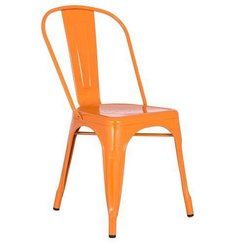 Cadeira Iron Tolix Industrial - Aço - Vintage - Laranja