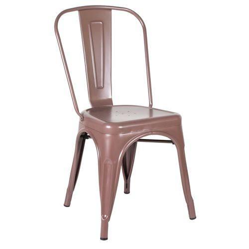 Cadeira Iron Tolix - Industrial - Aço - Vintage - Marrom