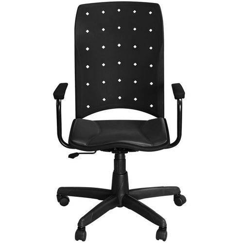 Cadeira Iso Presidente Preta Giratória com Braços e Sistema Relax - Pethiflex