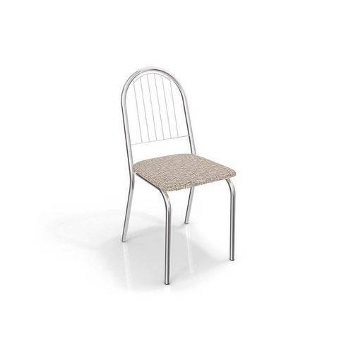 Cadeira Kappesberg Noruega 4C077 - Cor Cromada - Assento Preto Linho Cinza 17