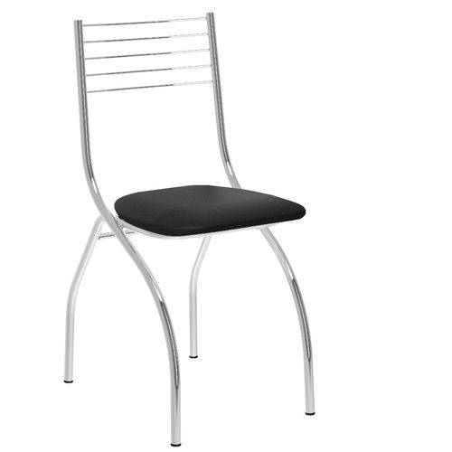 Cadeira Leticia 146, Cromada, Assentos Pretos