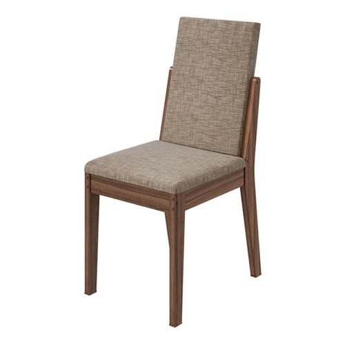 Cadeira Lira Velvet Riscado Bege - Imbuia Naturale