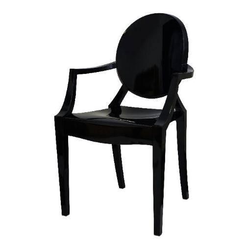 Cadeira Louis Ghost com Braço OR1106 - Preto