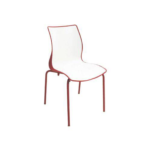 Cadeira Maja Vermelho/Branco com Perna Aço Pintado