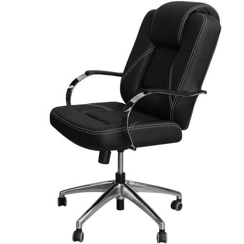 Cadeira Mônaco Luxo Preta com Estrela e Braços em Alumínio Cromado - Pethiflex