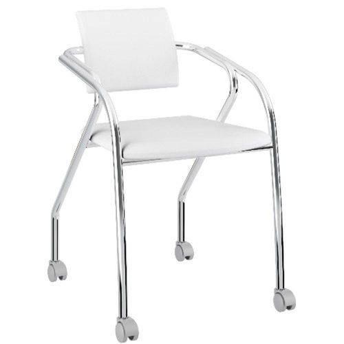 Cadeira para Escritório 1713 Carraro com Rodízios e Encosto Napa Branco Cromado