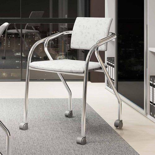 Cadeira para Escritório 1713 Cromado/Branco Fantasia - Carraro