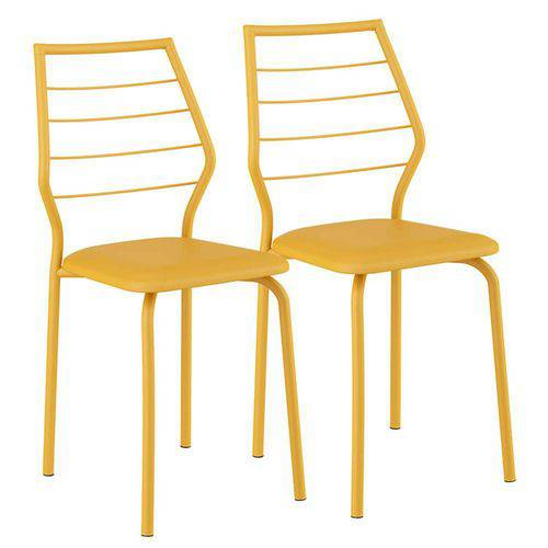 Cadeira Pintada 1716 02 Unidades Carraro | Cor: Amarelo Ouro