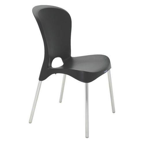 Cadeira Plastica Jolie Preta com Pernas de Aluminio Polidas
