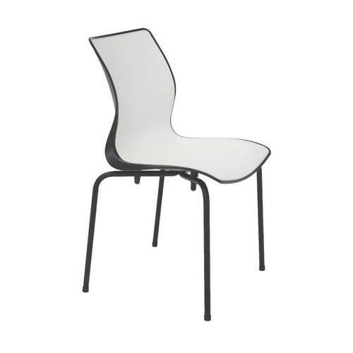 Cadeira Plastica Maja Bi-color Preta e Branca com Pernas de Aco Preta