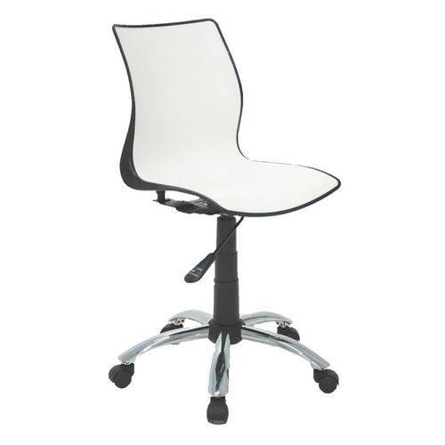 Cadeira Plastica Maja Bi-color Preta e Branca com Rodizio em Aco Cromado
