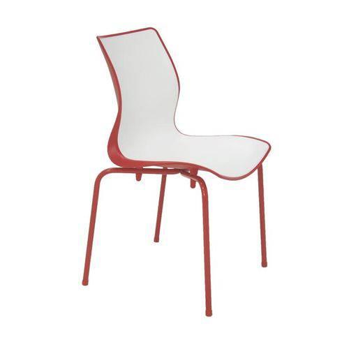 Cadeira Plastica Maja Bi-color Vermelha e Branca com Pernas de Aco Vermelha