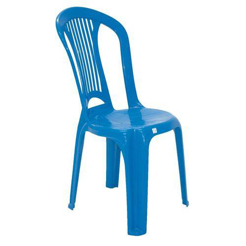 Cadeira Plastica Monobloco Atlantida Economy Azul