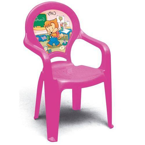 Cadeira Plastica Monobloco com Bracos Infantil Catty Rosa com Decoracao In Mold