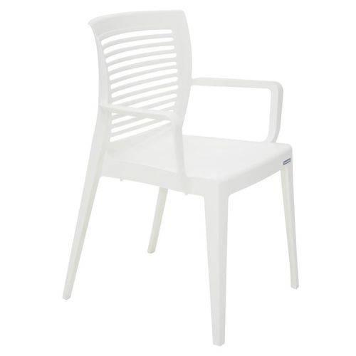 Cadeira Plastica Monobloco com Bracos Victoria Branca Encosto Vazado Horizontal