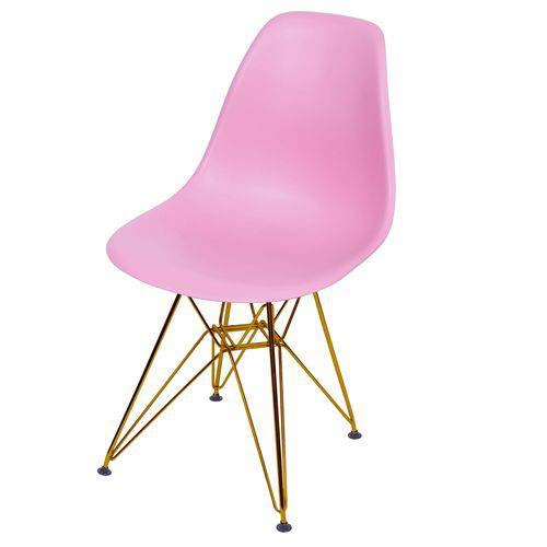 Cadeira Polipropileno Base em Metal OR Design Rosa