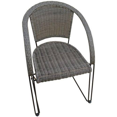 Cadeira Poltrona Aço Rattan Jardim Piscina Varanda Mor