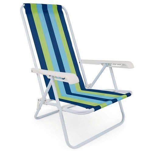 3 Cadeira Praia Piscina Reclinável 4 Posições Aço Cores Mor