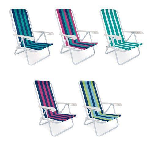 2 Cadeira Praia Piscina Reclinável 4 Posições Aço Cores Mor
