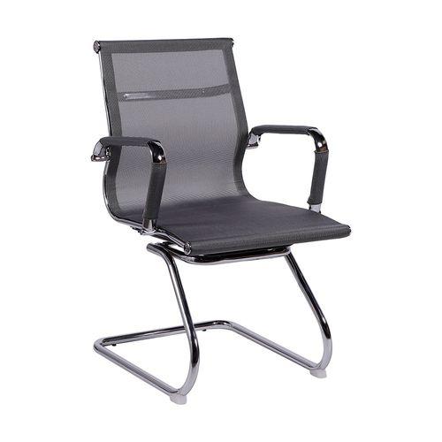 Cadeira Recepção Esteirinha Fixa Office - Tela Mesh Cinza Cinza