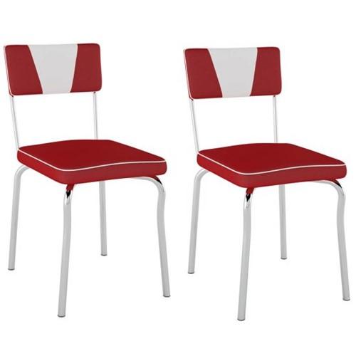 Cadeira Retrô Detalhe Branco PC13 2 Unidades - Pozza | Elare