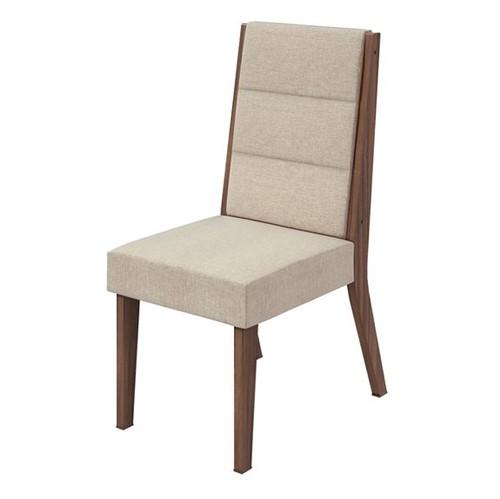 Cadeira Saara Linho Rinzai Bege - Imbuia Naturale
