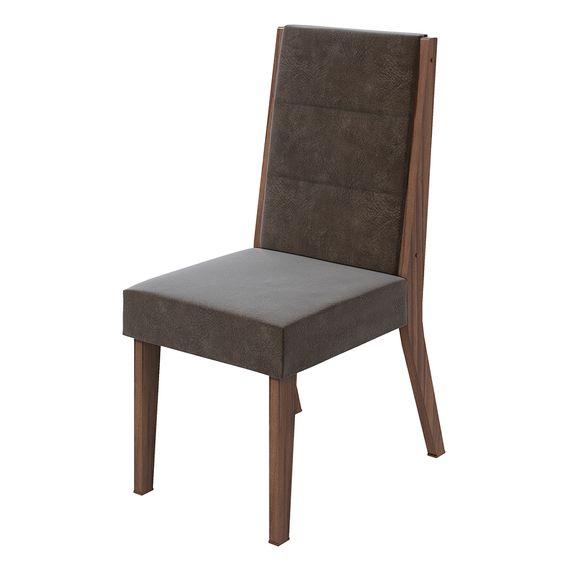 Cadeira Saara Velvet Chocolate - Imbuia Naturale