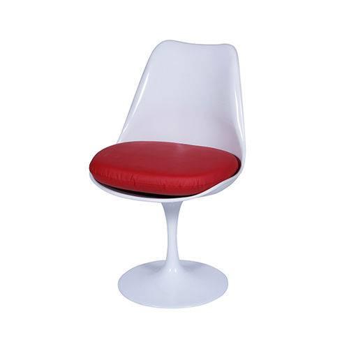 Cadeira Saarinem Sem Braço com Almofada - Branca-alm-vermelha