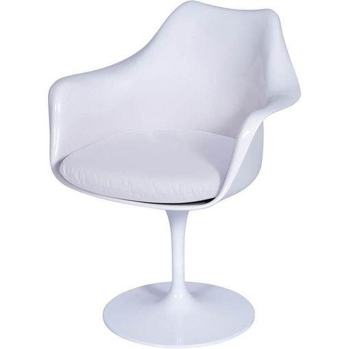 Cadeira Saarinen Branca ABS e Couro Giratória OR Design 1130