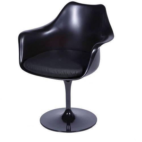 Cadeira Saarinen Preta Abs e Couro Giratoria Or Design 1130 - Preto