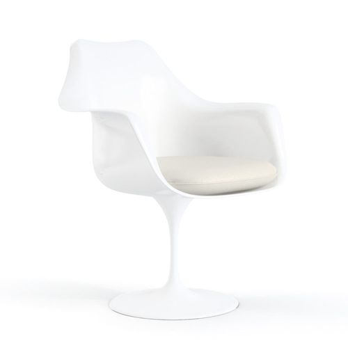 Cadeira Saarinen Tulip Branca - Braço - Assento Branco Branco