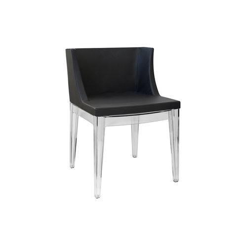 Cadeira Senhorita Couro Ecológico - Preta-base-transparente